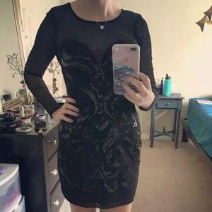 Express Black Dress Size Medium LBD Sequin Sparkle